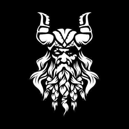 Norse God Odin Illustration black backgorund vector