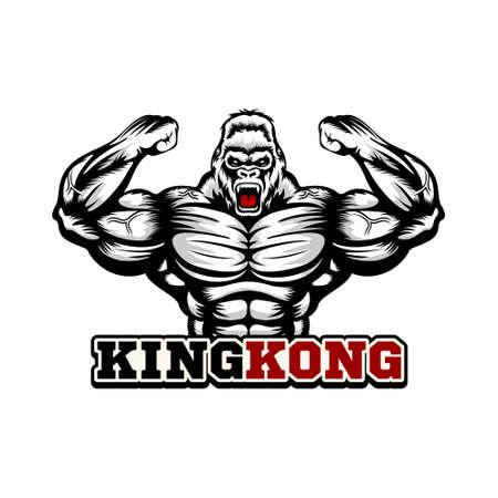 muscular king kong logo vector Illusztráció