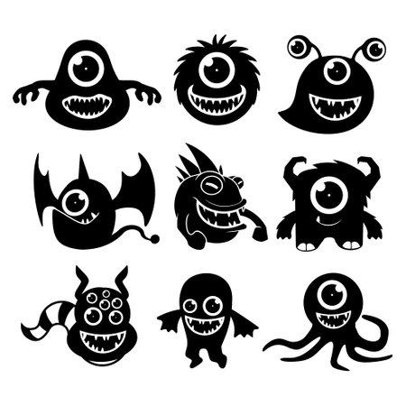 cute monster logo vector