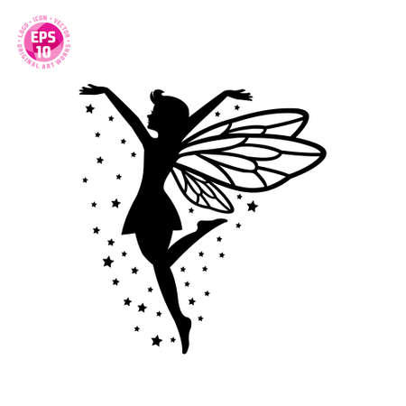 beautiful fairy silhouette vector template. suitable for logos, backgrounds, wallpapers and others.
