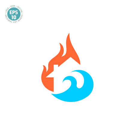 logo Home Protection From Fire, Flood and Disasters Illusztráció