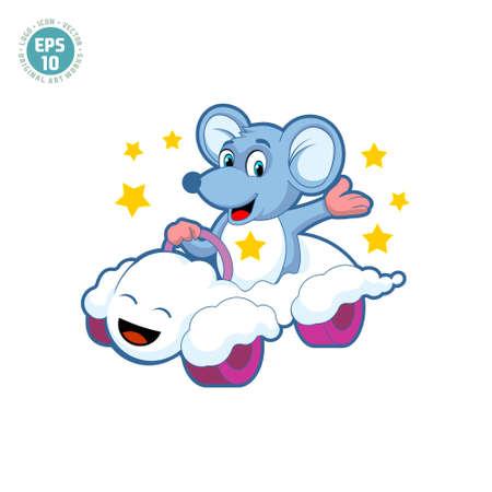 cute mouse driving a cloud car cartoon