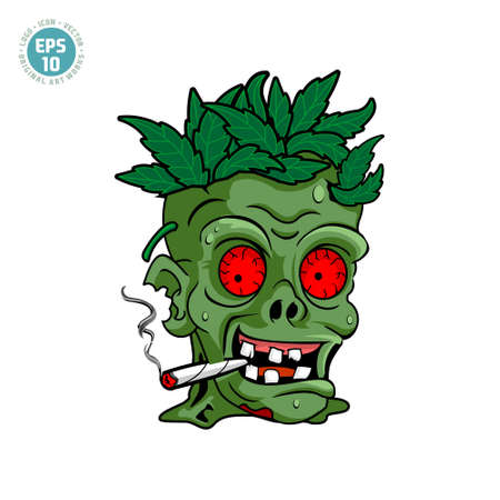 zombie cannabis illustration vector template