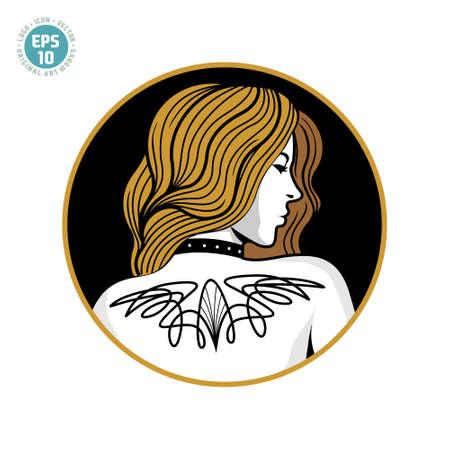 luxury beautiful tattooed girl illustration