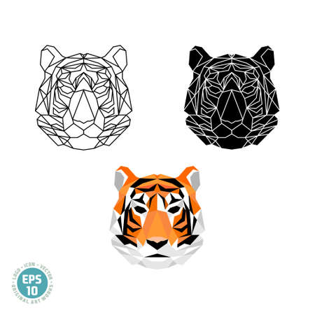 Abstract polygonal geometric head a tiger vector image