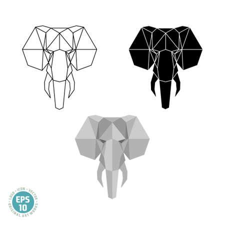 Abstract polygonal geometric head an elephant vector image Illusztráció