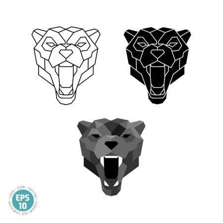 Abstract polygonal geometric head Black panther