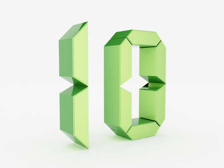 3D rendering of the number 10 Stock Photo