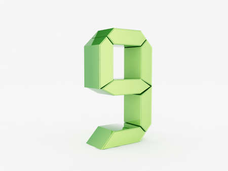 3D rendering of the number 9 Stock Photo