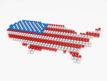 usa map made of balls