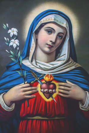The Heart of Virgin Mary. Typical catholic image (in my own home) printed in Germany from the end of 19. cent. originally by unknown painter.
