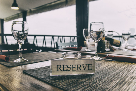 glasses on the reserved table