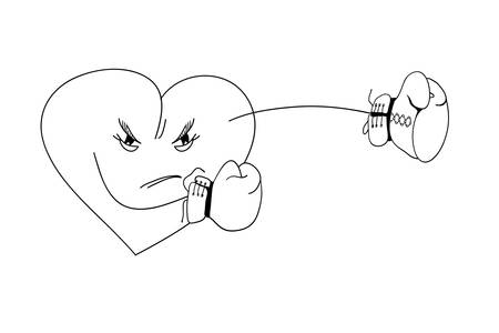 character traits: Illustration depicting an angry heart boxing gloves