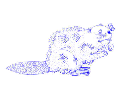 illustration depicting a beaver, staring at a butterfly that is stranded on his nose