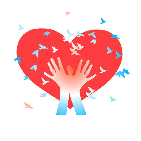 caring hands: Abstract vector background. Illustration for Valentines Day Illustration