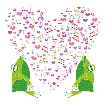 amphibia: Two frogs on a background of hearts. Template Valentine greeting cards. The musical notes in the shape of a heart. Heart made of musical notes. Doodle Hearts. Valentines day cards. Illustration