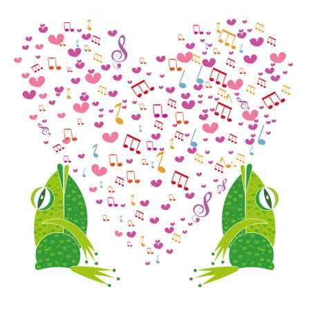 Two frogs on a background of hearts. Template Valentine greeting cards. The musical notes in the shape of a heart. Heart made of musical notes. Doodle Hearts. Valentines day cards. Illustration