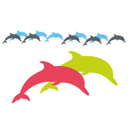 duet: Two lovers Dolphin. Vector silhouette on a white background. Illustration