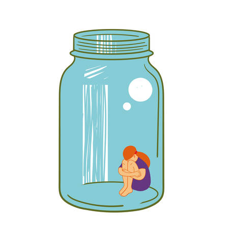 alone man: vector illustration depicting a girl-teenager in a glass jar Illustration