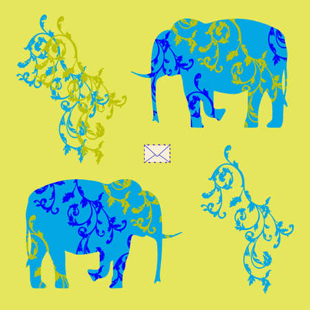 carving: Colored Vector illustration with the image of an envelope and two elephants with ornament