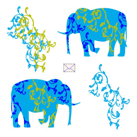 duo: Envelope with elephants. Illustration for postcard