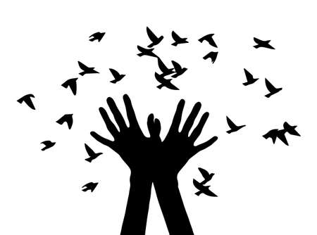 letting: Black and white vector illustration depicting hands, letting out a flock of birds