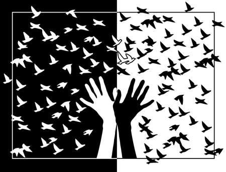 Schwarze und weiße Hände mit Vögeln in den Rahmen