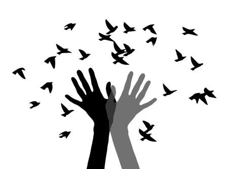 flock of birds: silhouette of two hands and the birds