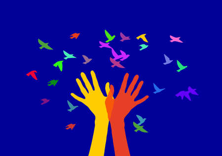 releasing: Hands in the form of trees, releasing birds. Color image on a blue background Illustration