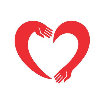 personas abrazadas: vector de imagen del corazón de las dos manos