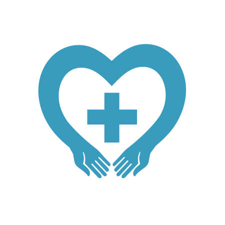participate: blue heart with a cross vector silhouette