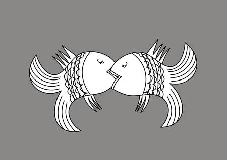 animal tongue: Vector illustration with the image of kissing fish