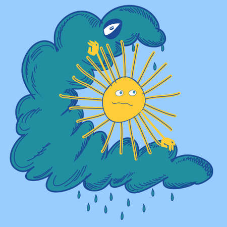 struggling: Vector illustration of the sun is struggling with cloud