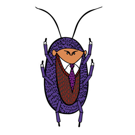 picks: Cockroach in a good suit. Vector caricature illustration Illustration