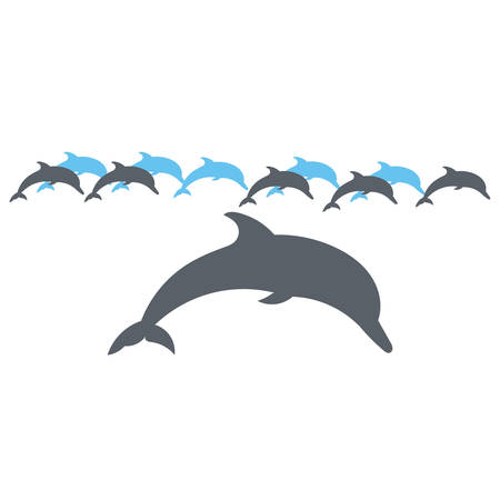 dolphins: Vector silhouette on a white background.