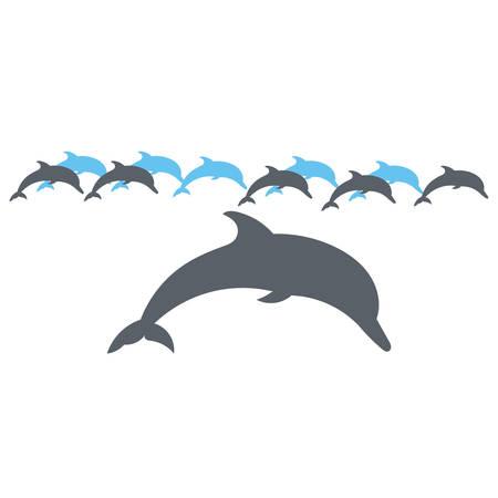 delfin: Vector sylwetka na białym tle.