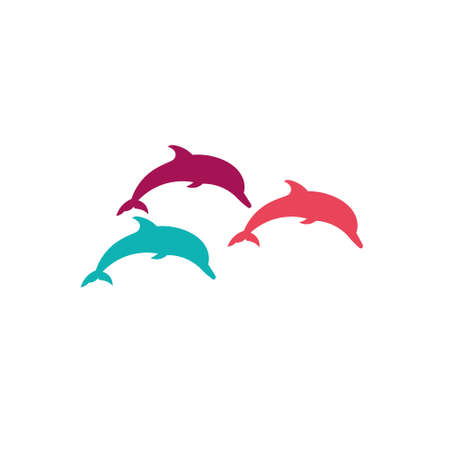 fin swimming: Three dolphins silhouette on a white background.