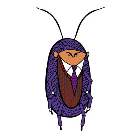 Cockroach in a good suit caricature illustration