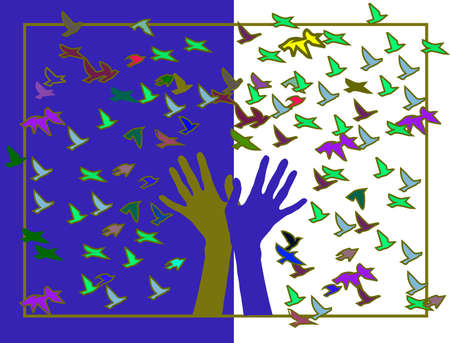 deliverance: hands with colored birds in the frame