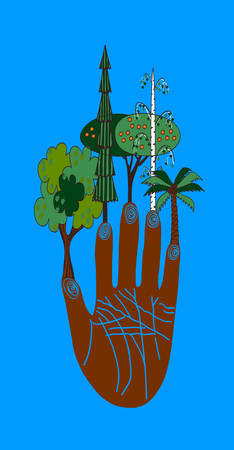 palmistry: fingers trees Vector colored illustration Illustration