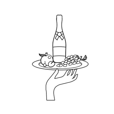 restaurateur: Vector icon of human hand with a tray with drinks and fruit