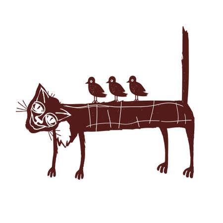 tolerance: An elderly cat with birds on back. The metaphor of tolerance