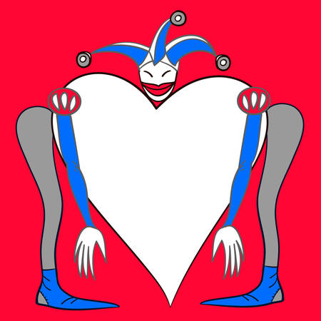 pierrot: Harlequin. Heart template with a space for your text, company name or slogan