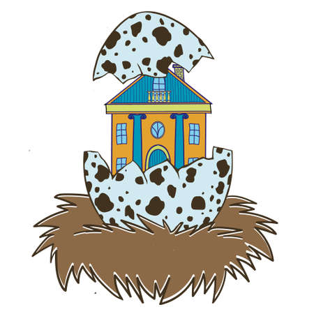 birds nest: Cute funny vector illustration. Suitable for web design and printing, and as print on t-shirt