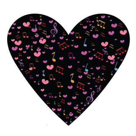 valentine musical note: Abstract background with music notes and a shape of a heart.