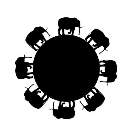 herd: funny original creative vector illustration for web design and Polygraphy