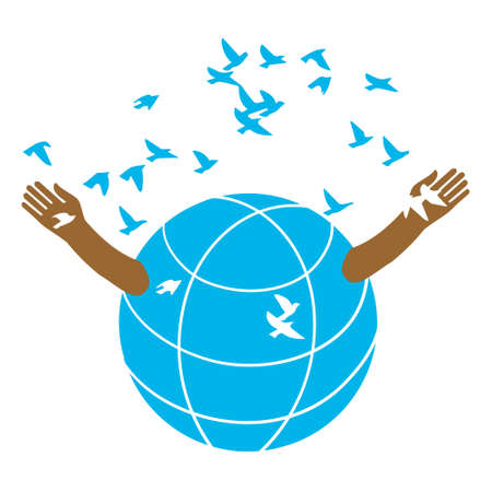 The globe opens the arms of the flock of birds.  . Illustration. A symbolic image of peace. Kindness and love.