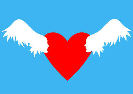 Valentines Day vector illustration. Wings with human faces in profile Winged hearts, blue sky background.