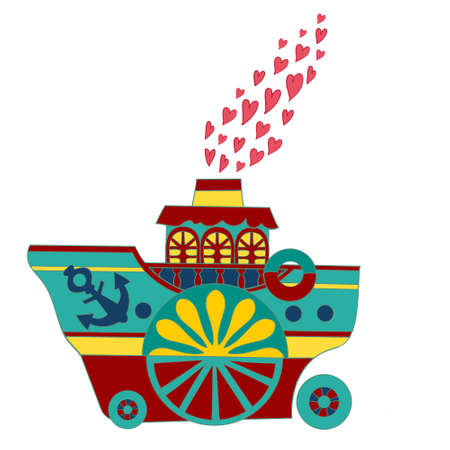 steamship: Abstract vector illustration with steamship and hearts. Illustration
