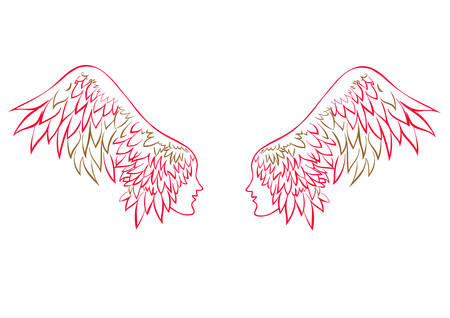 profile human faces on the wings - hair , linen vector illustration for banner, card, cover.